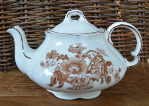 Vintage English Cottage Style Individual or Childs Teapot Charlotte Brown Toile Ironstone Basket of Roses
