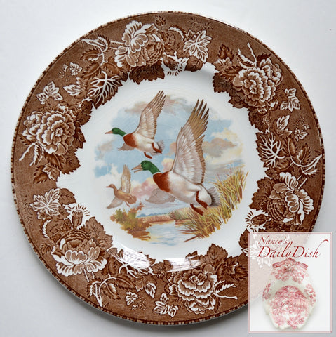 Vintage Brown Transferware Polychrome Plate Woodland Ducks Mallards