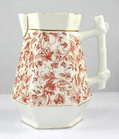 Bamboo Handle Reddish Brown Chintz Transferware Hexagon Creamer Pitcher Aesthetic Movement