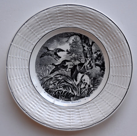 French Country Black Transferware Plate Hunt Scene Plate Hunting Hound Dogs Pheasants