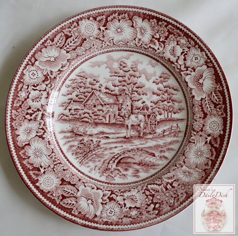 Red Transferware Plate Pastoral Midwinter Rural England Horse Drawn Cart French Cottage