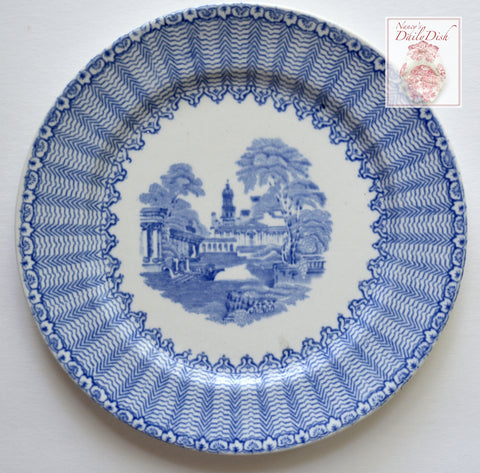 Antique Light Blue English Transferware Romantic Staffordshire Plate Pandora