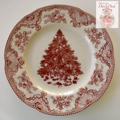 "Red / Pink Transferware 8"" Salad Plate Christmas Tree w/ Ribbons & Toys Underneath"