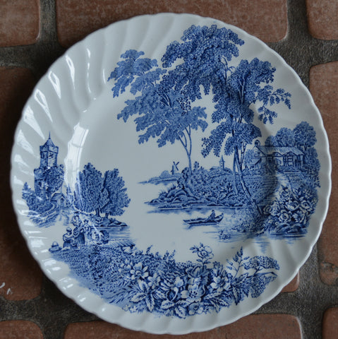 Vintage Blue Toile Plate English Transferware Plate Pastoral Ferry Boat Crossing Roses Cottage Windmill