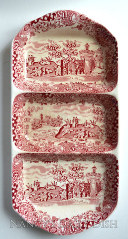 Vintage Red Transferware Divided Relish Tray Strolling Couple Gazebo Geometric Border Landscape