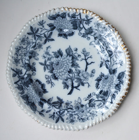 19th Century Spode Copeland Botanical Aesthetic Transferware Navy / Dark Blue English Transferware Plate Dahlia Carnation Flow Blue China