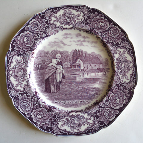 Circa 1932 Purple Aubergine Transferware Octagon Shaped Plate Washington and his Mother