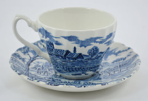 Royal Mail Blue Transferware Cup and Saucer Horses Stream Trees