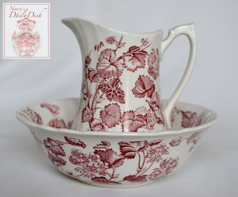 Vintage English Red and White Transferware Pitcher & Bowl / Basin Floral & Vine Florette