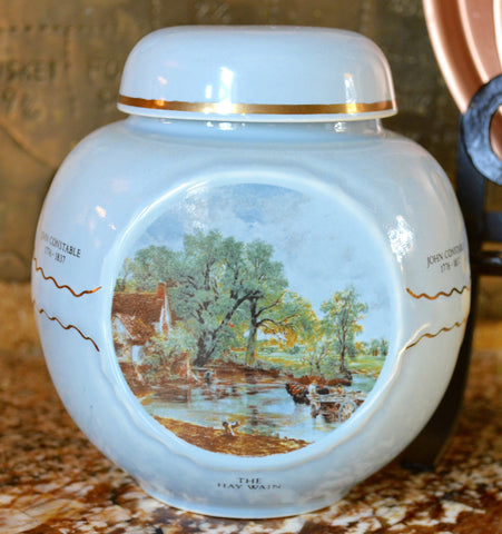 Vintage Twining English Tea Caddy - Ginger Jar John Constable Pastoral Scenes Blue Salisbury Dedham Hay Wain