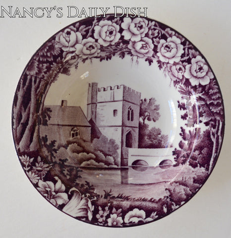 Vintage Purple Aubergine Transferware Candy Dish Bowl Dripping Roses Hills Broughton Castle Wood and Sons Circa 1930