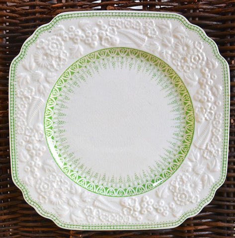 Antique Mint - Apple Green Transferware Square Plate English Earthenware Embossed Floral and Fern Border