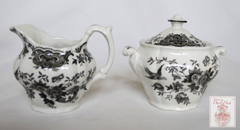 Vintage Black English Transferware Toile Sugar & Creamer Roses Birds Windsor Asiatic Pheasants
