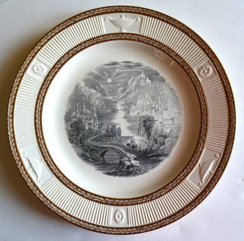 English Transferware Black Plate Embossed & Gilded Gilt Border George Jones Scenic Path Through Mountain Village