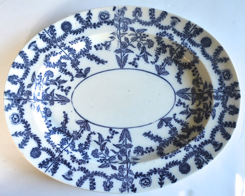 "19th Century 17"" Antique Circa 1860 Flow Blue Navy Spode Delhi Transferware Turkey Sized Platter Medallions Swags Roses"