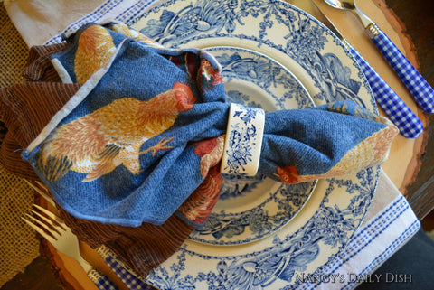 Set of 8 Blue w/ Brown Rust & Red Rooster Fabric Napkins