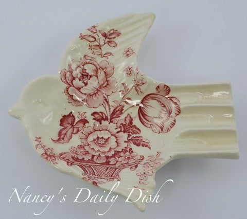 Rare Red Transferware Bird Sparrow Shaped Pin Dish Spoon Rest or Ash Tray Charlotte England Basket of Flowers