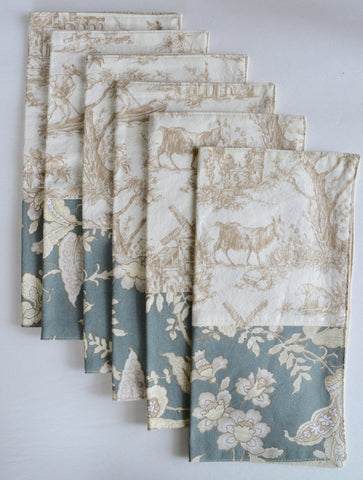 Set of 6 Custom Made Country French Toile & Floral Blue and Taupe Dinner Napkins