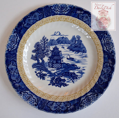 2 Color Chinoiserie Plate Blue & Brown Border Blue Willow Chinese Gardens