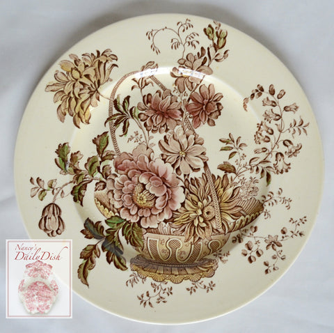 Brown Polychrome Transferware Plate Basket of Gold & Pink Roses Flowers Charlotte
