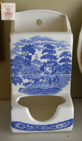 Blue Transferware Antique Hanging Match Safe Pastoral Scene with Horses