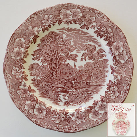 Red Transferware Plate Charger Chop Plate Wedgwood Gathering Hay Plentiful Harvest Roses Pastoral Farm