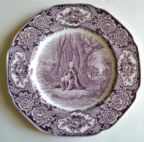 Circa 1932 Purple Aubergine Transferware Octagon Shaped Plate George Washington Kneeling in Prayer at Valley Forge Roses