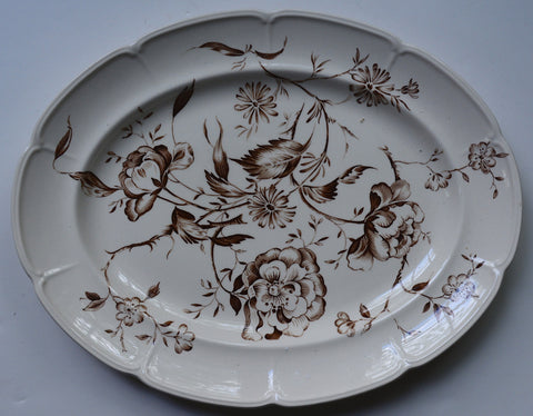 Large Vintage Floral Toile Brown Transferware Serving Platter Botanicals