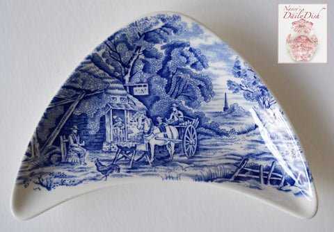 Midwinter Rural England Blue Transferware Crescent Bone Dish Horses English Inn