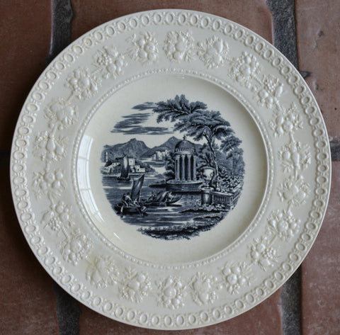 Wedgwood Black Transferware Charger Plate European Water Scene w/ Sailboat Creamware Embossed Border #1