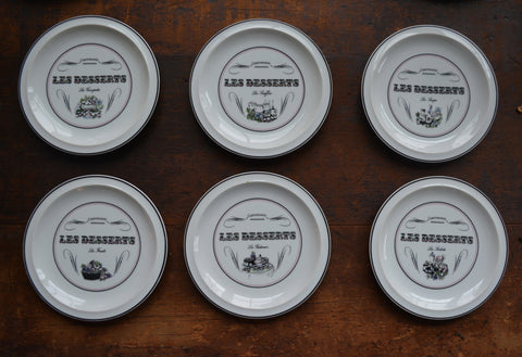 Set of 6 Mix n Match French Advertising Black Transferware Dessert Plate Les Desserts Gastronomie Les Souffle Sirops Compotes  Sorbets Fruits Gateaux