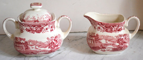 Meakin Tonquin Square Creamer and Sugar Bowl Flowers Roses  Clarice Cliff Red Toile English Transferware
