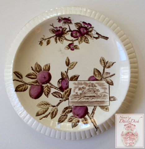 Antique 19C Aesthetic Movement Brown Transferware Cheese Plate Platter Brown Westhead & Moore Cottage Plums