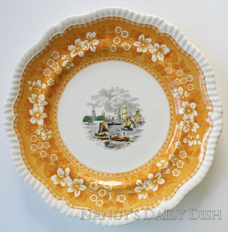 Spode Copeland Vintage Yellow Black Two Color Transferware Charger Plate Sail Boat Nautical Scene