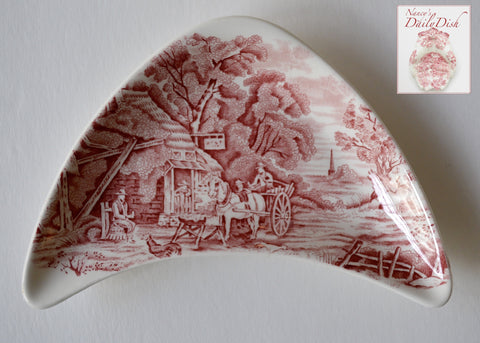 Midwinter Rural England Red Transferware Crescent Bone Dish Horses English Inn