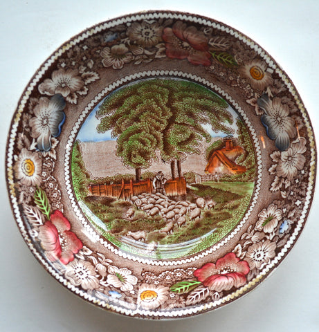 Brown Polychrome Transferware Cereal Bowl Candy Dish Pastoral Midwinter Rural England Flock of Sheep