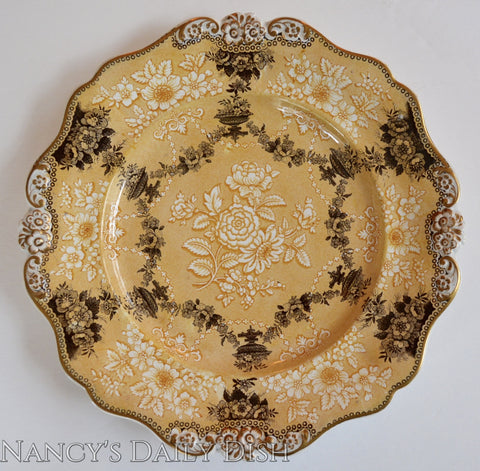 circa 1835 Rare Yellow Two Color Transferware Plate Etruscan Festoon Ridgway