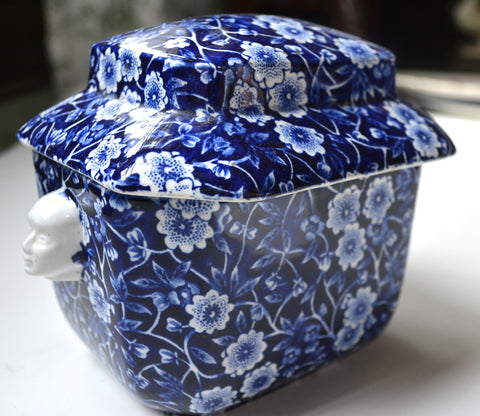Blue & White Calico Chintz Staffordshire Transferware Tea Caddy Figural Face Shaped Handles