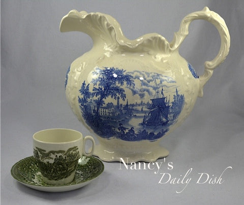 Huge! English Victorian Blue Transferware Ironstone Ornate Wash Pitcher Ships Safe Harbour