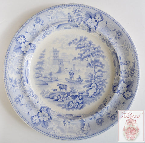 Antique Light Blue English Transferware Romantic Staffordshire Plate Circa 1837 Cattle Scenery
