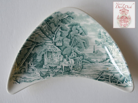 Midwinter Rural England Teal Transferware Crescent Bone Dish Horses English Inn