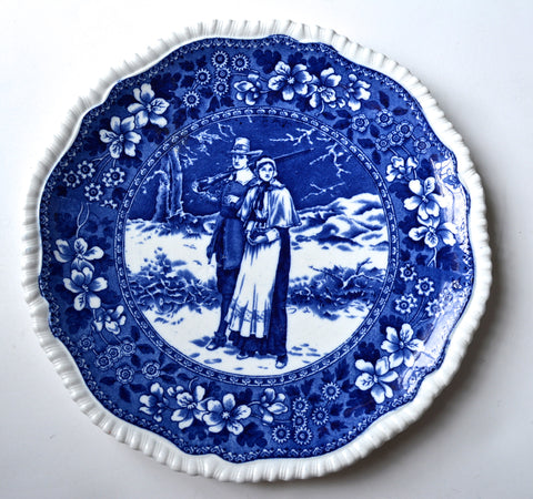 "9"" Antique Blue Toile Copeland Late Spode  Transferware Plate Pilgrim Couple / John Priscilla Alden Tower Border"