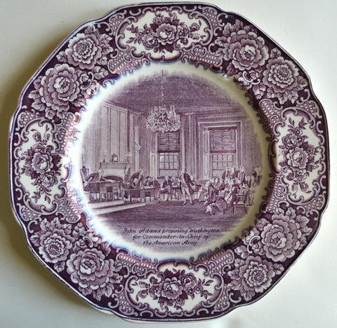 Purple Aubergine Transferware Octagon Shaped Plate Washington Bicentenary John Adams Proposing Washington as Commander in Chief