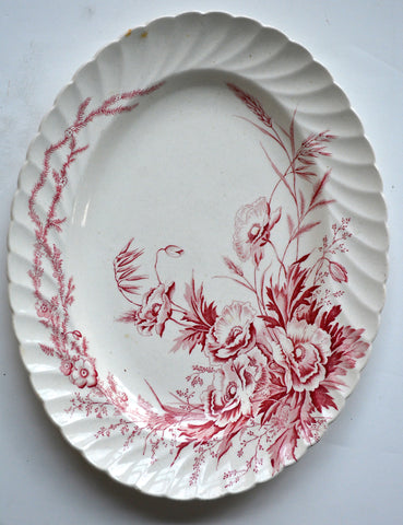 LG Clarice Cliff Toile Red Transferware Oval Serving Platter / Tray Harvest Poppies