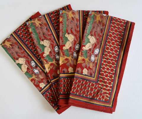 "Set of 4 Country French Red Rooster / Chicken / Hen Cotton 20"" Dinner Napkins"