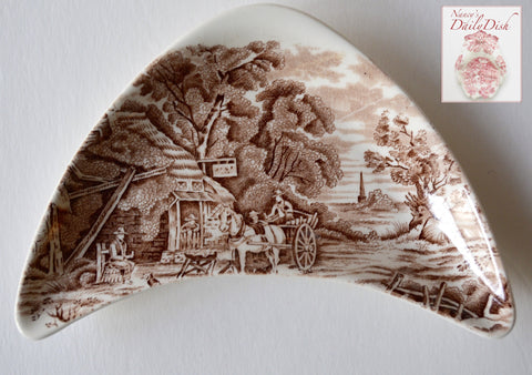 Midwinter Rural England Brown Transferware Crescent Bone Dish Horses English Inn