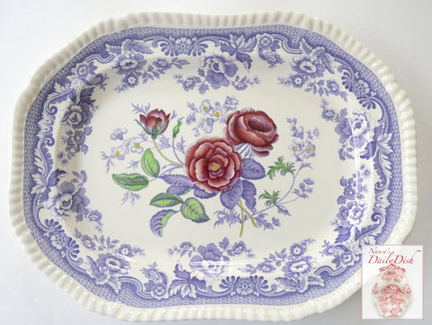 "Large 13"" Spode Mayflower Periwinkle Purple  / Lavender Transferware Platter w/ Hand Painted Pink Roses"