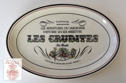 French Advertising Black Transferware Radishes Platter Gastronomie Les Crudites Radis