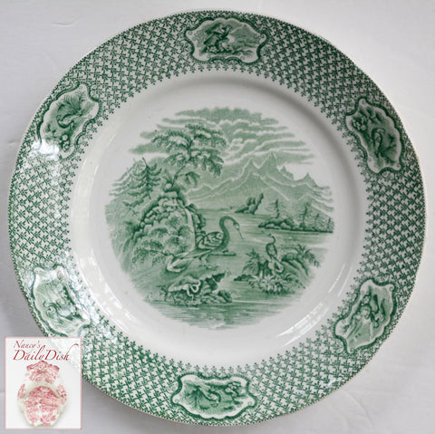 Antique W Adams Green Transferware Plate Ornithology Woodland Birds Circa 1809
