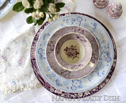 Antique Purple Transferware Tea Cup and Saucer plate Circa 1890 J.M. & Son of Staffordshire